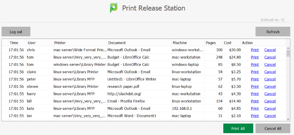 Image of Print Release Station Screen