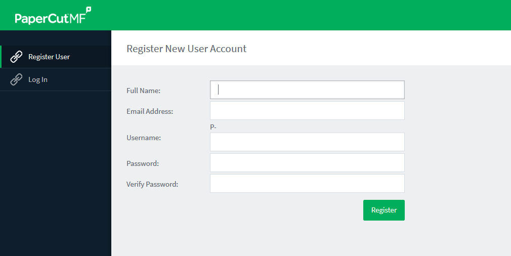 Image of Register New User Account screen