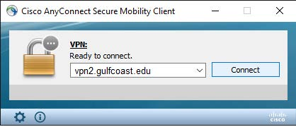 Cisco AnyConnect Secure Milibity Client. VPN: Ready to connect. vpn2.gulfcoast.edu (dropdone). Connect button