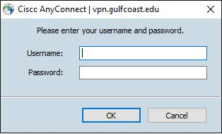 Please enter your username and password. Username: and Password (text boxes) OK-highlighted and Cancel buttons
