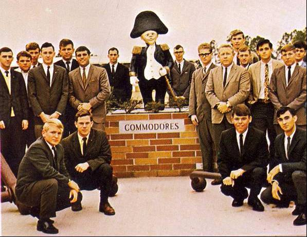 Students standing around Commodore shrine in 1966