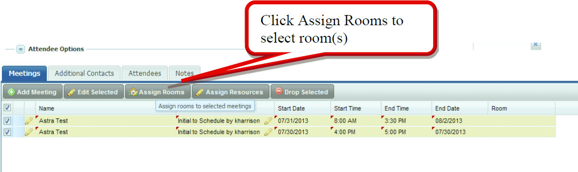 Click Assign Rooms to select room(s)