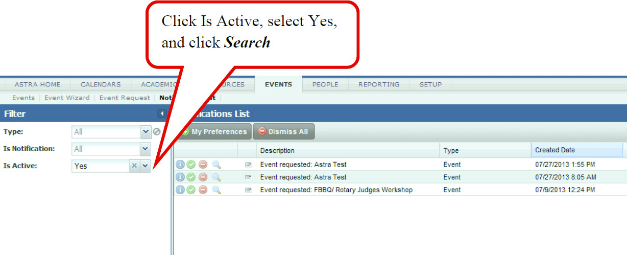 Click I Active, select Yes, and click Search