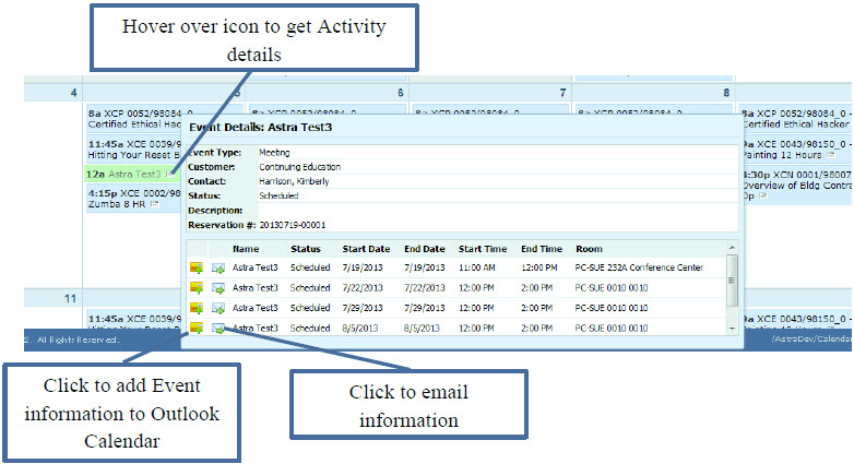 Event Details: Hover over icon to get Activity details, Click to add Event information to Outlook Calendar, Click to email information