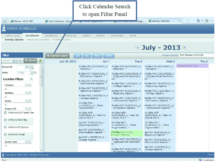 Click Calendar Search to open Filter Panel