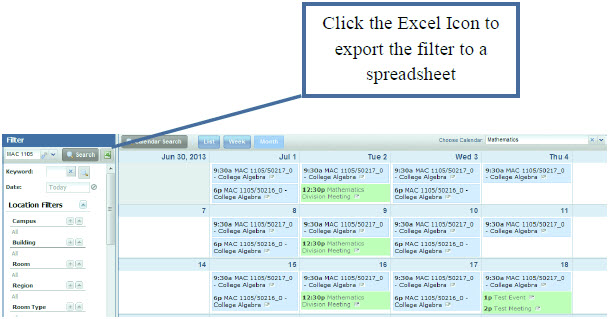 Click the Excel Icon to export the filter to the spreadsheet