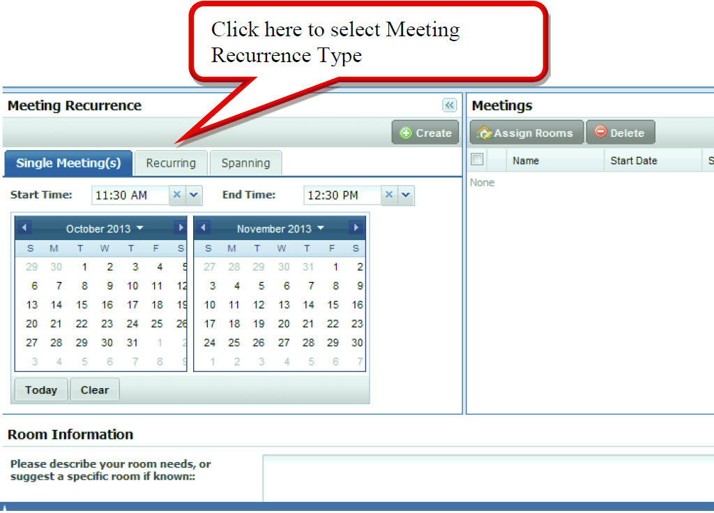 Click here to select Meeting Recurrence Type