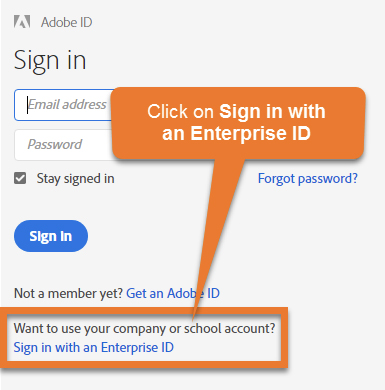 Image of Click on Sign in with an Enterprise ID