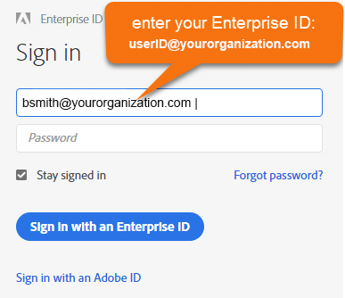 Image of enter your Enterprise ID with email address