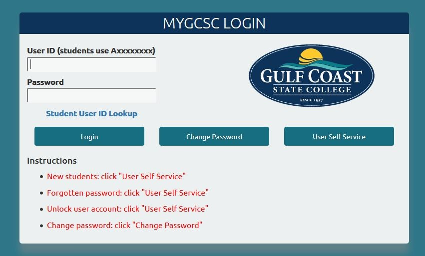 Image of Login page of myGCSC