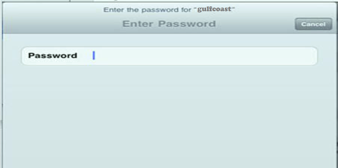 "Enter the password for ""gulfcoast""; Enter password; Password:"
