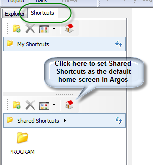 Shortcuts. Chick here to set Shared Shortcuts as the default home screen in Argos