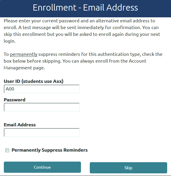 Enroll - Email Address