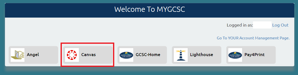 Welcome to myGCSC with Canvas selected
