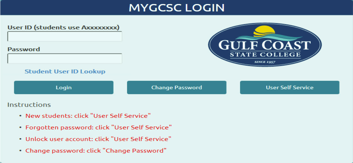 Login page of myGCSC